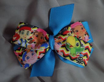 Jake & the Never Land Pirates Hair Bow - Girl's hair bow, Toddler hair bow, Barrettes and clips, Hair accessory, Bow, Hair clip