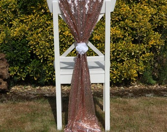 Luxury Rose Gold Sequin Chair Sash, Sequin Chair Cover, Wedding Decor, Party Decor
