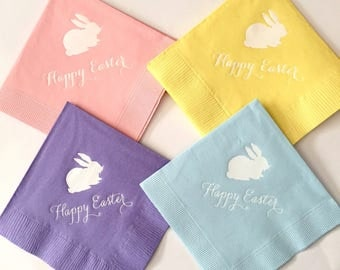 Happy Easter Napkins - READY TO SHIP - Set of 25