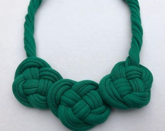 Green Knotted Necklace, Statement Necklace, Tshirt Yarn Necklace, Gift for Her, Fabric Necklace, Handmade Necklace