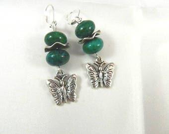 Silver Green earrings, Stud Earrings silver pearls chrysocolla green charms Butterfly women Bohemian style earrings