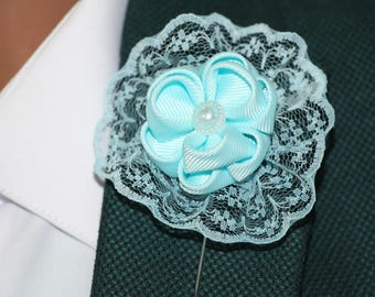 Pastel blue lapel pin Mens Lapel Flower Mens Accessories Men Lapel Flower Grooms boutonniere Flower Lapel Pin Mens pin Wedding boutonniere