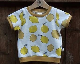 Cuffed T-Shirt - 'Gold Lemons' - 3-6m and 12-18m