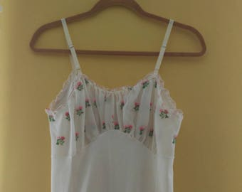 50s Nightgown Slip with Sheer Embroidered Bust