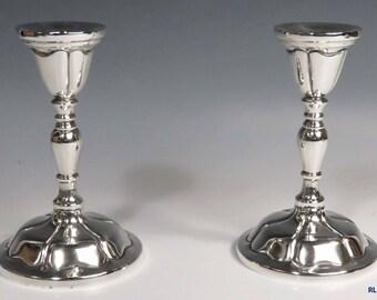 2 1950's Mexican Salvador De La Serna Sterling Silver Candlesticks