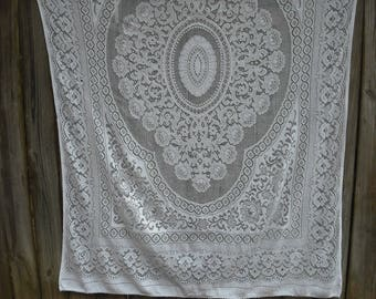 Vintage Cotton Lace Rectangular White Tablecloth, Shabby Chic, Cottage Chic