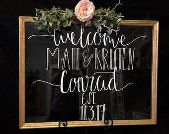 Glass Wedding Sign | Large Glass Wedding Sign