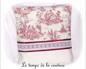 Pillow cover - reddish dark way painting of Jouy and lace-handmade.