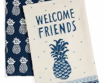 Welcome Friends Pineapple Set of 2 Dish Towels