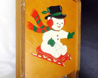 Vintage 1960's Snowman Sled Sleigh Toboggan/Hanging Shelf Holiday Decoration