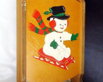 Vintage 1960's Snowman Sled Sleigh Toboggan/Hanging Shelf Holiday Decoration