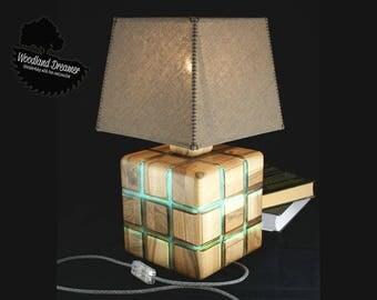 Wood Art, Wood and Resin, Unusual Table Lamp, Industrial Lamps, Dark Wood