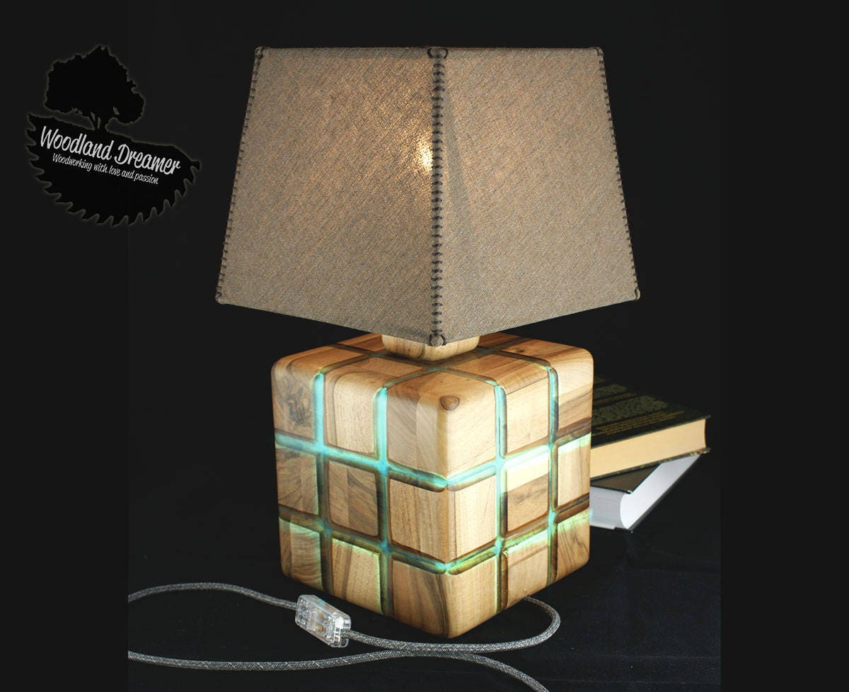 Glow in the dark wood modern table lamps wood lamp resin wood art wood and resin unusual table lamp industrial lamps dark wood geotapseo Gallery