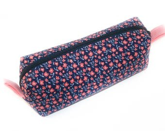 Navy and Coral Skinny Box Pouch / Pencil Pouch / Makeup Bag/ Gift