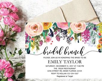 Bridal Brunch Invitation, Watercolor bridal invite, Floral Bridal Shower Card, Instant Digital Download File, Flower Bride DIY, Brunch 15