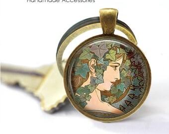 """ALPHONSE MUCHA Key Ring • Mucha Art • Mucha """"The Ivy"""" • Art Deco Art • Mucha Jewellery • Gift Under 20 • Made in Australia (K505)"""