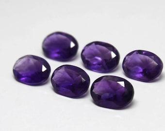 6 Pcs 30Cts. Wholesale Lot 100% Natural Purple Amethyst 14x10mm Oval Shape Jewelry Making Handmade semi precious Normal Cut Loose Gemstone