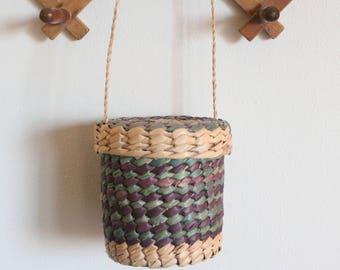 Vintage Purple + Teal Woven Basket Purse