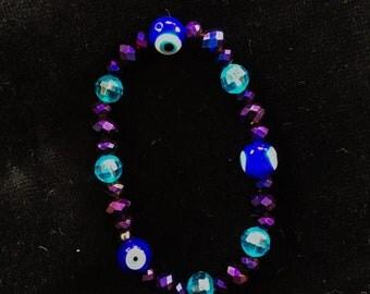 Beaded Evil Eye Bracelet purple