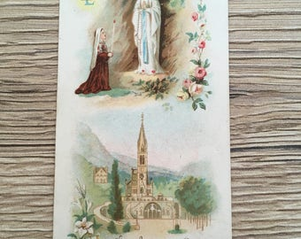 vintage 1908 french holy card, Lourdes jubilee 1858-1908 holy card, Bernadette, religious card