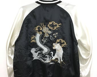 Vintage SUKAJAN Souvenir Jacket Japanese Traditional Embroidery Tiger Dragon Size 3L