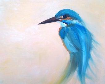 oil painting, kingfisher portrait, original fine art, bird portrait, animal art, wall art, kingfisher, kingfisher in oil, bird painting