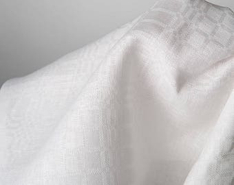 White Flax Linen Fabric by the yard - made in N. Europe - Medium Weight