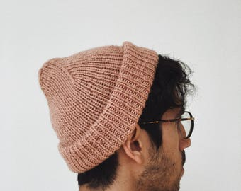 Dusty Rose Hand Knit Ribbed Beanie