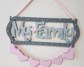 Family Wooden Signs Family Personalised Hearts Mothers Day Living Room Decor Wooden Signs Wood Sign Family Sign Family Wood Sign Rustic Sign