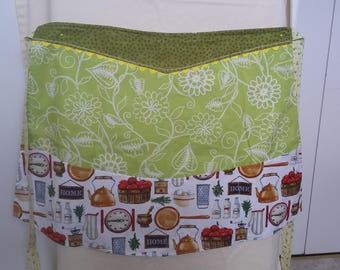 Women's reversible half apron with 4 bottom pockets; summer and cooking themed fabric