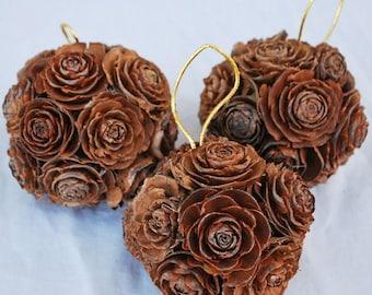 Mini Pine Cone Rose Balls | Pine Cones | Pine Cone Decorations | Roses | Home Decor | Dried Decor