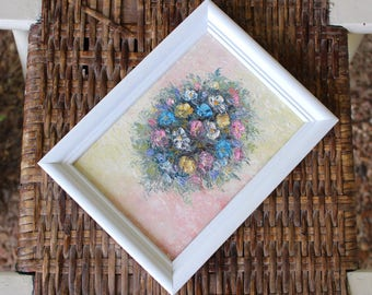 Framed Flower Oil Painting - Real Painting - Vintage Floral Bouquet Art