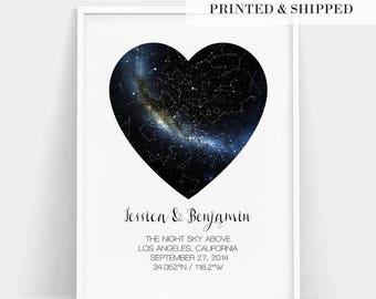 Heart Real Night Sky Print, Constellation Star Map, Custom Star Map Print, Personalized Gift, Wedding Gift, Engagement Gift, Important Dates