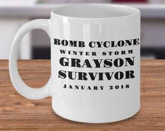 "Winter Storm Grayson Survivor Mug - ""Bomb Cyclone Winter Storm Grayson Survivor January 2018"" 11 /15 oz White Ceramic Coffee Mug Tea Cup"