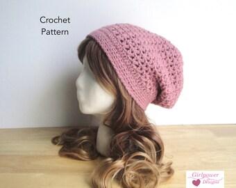 Crochet Pattern - Lacy Slouch Hat, Crochet Slouch Hat, Easy Pattern, Worsted Yarn, Women Teen Girls