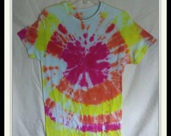 Women's size  S/CH/P, Tie dyed T-shirt, sunburst color. 100% cotton.