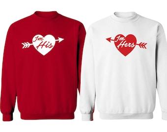 Valentines Day Couple Sweatshirts - I'm His & I'm Hers