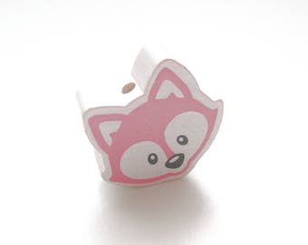 Head of Fox white & pink wooden bead