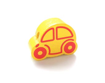 Wooden small car - yellow bead