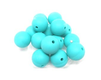 10 Silicone 15mm - Turquoise beads