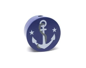Flat wooden bead anchor Navy Blue