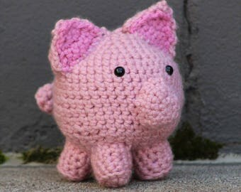 Crocheted Pig-Crocheted farm animal-hand crocheted animal-kids soft toys-Piglet Toy- Amigurumi To Go-Corcheted Toy Animal-Amigurumi Doll-Pig