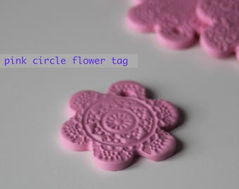 Pink circle flower tag or disk (x3)