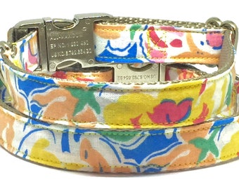 Multicolor, Floral, Summer, Adjustable, Dog Collar, Pretty, Girly, Metal Buckle, High Quality, Feminine, Pet Accessory, Fabric, Cotton,