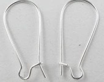 Silver Earring Hooks - 40 pieces / 20 pairs - 8mm x 17mm - Findings - Jewelry Supplies