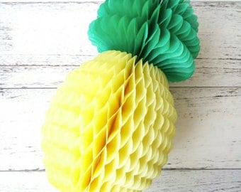 "Pineapple Honeycomb 8"", Tissue Paper Honeycomb, Pineapple Party Decor, Summer...Beach...Pool Party"