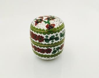 Vintage Cloisonné Enamel Brass Box, Miniature Box With Lift Off Lid vintage. White Red Blue Oriental Floral Motifs