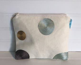 Handmade Zipper Pouch | Embroidered Circle Pouch