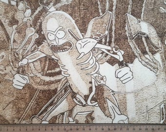 Rick and Morty woodburning, Pickle Rick pyrography