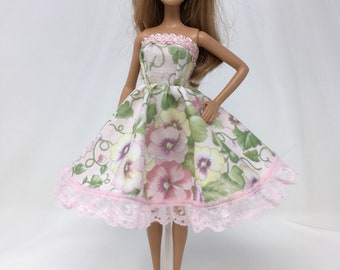 "Spring Doll Dress-11.5"" Doll Clothes-Pink Floral Doll Dress-Flower Dress-Spring Flower Dress-Easter Dress-Girls Birthday Gifts-Toys"